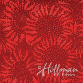 Hoffman Batik Sunflower 884 403 Cherry