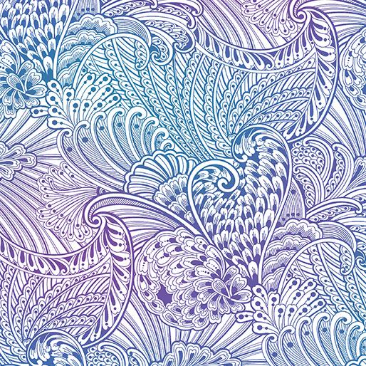 Peacock Flourish - Opulence Mottled White/Multi