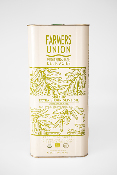Extra Virgin Bio Olijfolie 5 l. blik. Farmer's Union.
