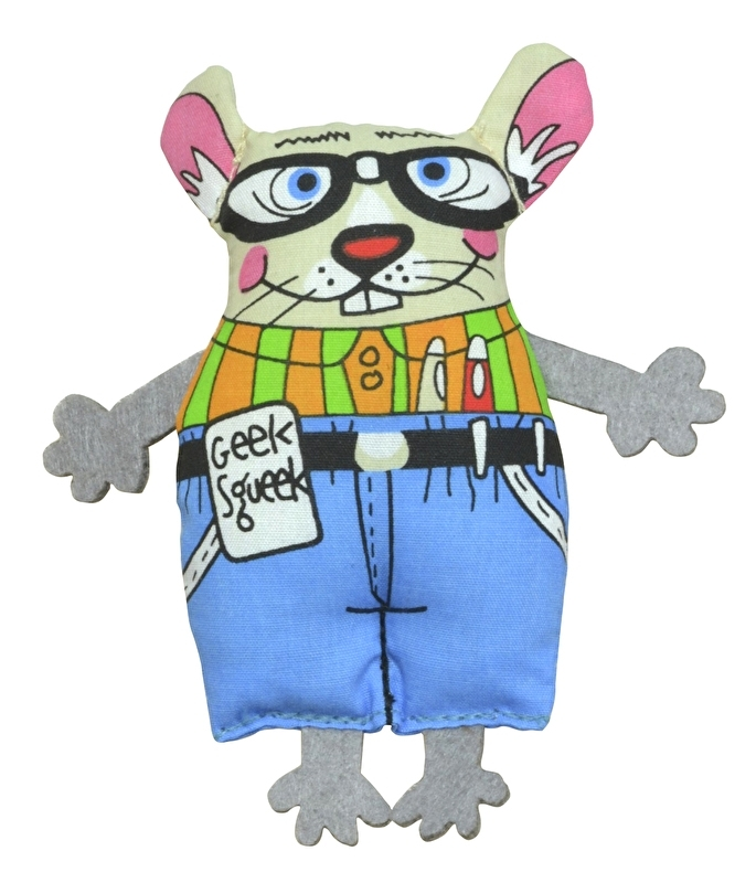 PETSTAGES MADCAP GEEKY SQUEAK MOUSE