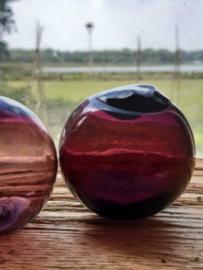 Oude Antiek Vintage Glazen Drijver Visnet Aubergine