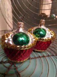 Oude Vintage Kerstbal Mandje Inge Glass Germany 180