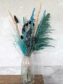 Gemengd Droogboeket Droogbloemen Turquoise Zwart met Vaas