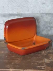 Oude Brocante Emaille Zeepbakje Oranje Gevlamd
