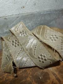 Oude Antiek Brocante Fournituren Goudband Lint Brokaat