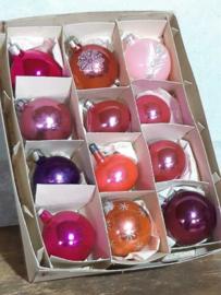 Oude Vintage Kerstballen 5668 Doosje Mix Roze Lila