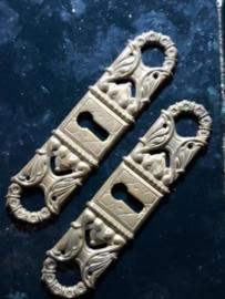 Oud Koperen Sleutelplaatje 10x2.5 cm