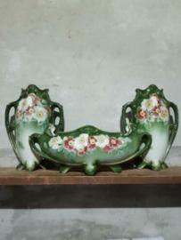 Oude Antieke Schouwset K&G Luneville Faience France Jardiniere