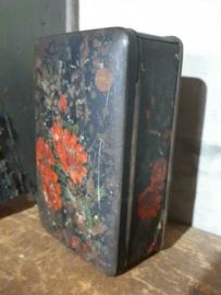 Oud Antiek Brocante Blik  Bloemen Rood