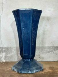 Oude Antiek Art Deco Vaasje Geëmailleerd Gietijzer Donker Blauw