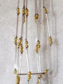 Oude Antieke Kerstbal 7438 Kralenslinger Kralenketting Kralen Slinger Zilver Goud