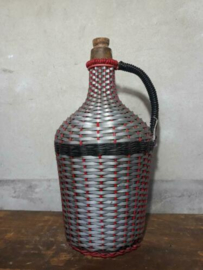 Oude Brocante Gistfles Mandfles Zilver Rood