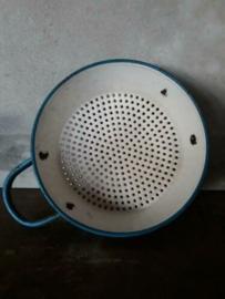 Oude Brocante Emaille Vergiet Blauw