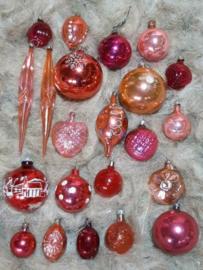 Oude Vintage Kerstballen 7544 Doosje Russische Framboos Roze