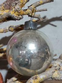Oude Antieke  Vintage Russisch Kerstbal 4901 Zilver XL