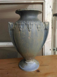 Oude Brocante Antiek Tuinvaas Geëmailleerd Gietijzer Lavendelblauw Art Deco