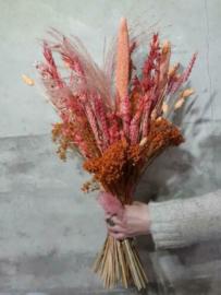 Groot Droogboeket Droogbloemen Oud Roze Zalm Abrikoos Peach