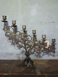Oude Antieke Koperen Kandelaar met Bronzen Voet