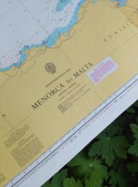 Oude Nautische Zeekaart Middellandse Zee - Sardinie en Tunesia en Sicilie