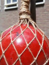 Oude Vintage Glazen Drijver Macrame Visnet Rood