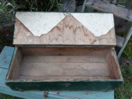 Oude Brocante Vintage Houten Kist Koffer Donker Groen