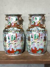 Oude Antiek Set Chinese Vazen Handbeschilderd