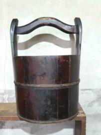 Oude Antiek Houten Emmer Plukemmer Wateremmer