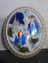 Oude Vintage Lijst Maria Bernadette Lourdes Souvenir