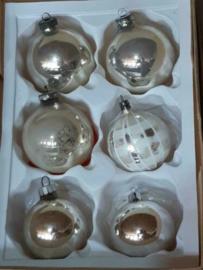 Oude Vintage Kerstballen 5061 Doosje Zilver Mix