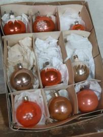 Oude Vintage Kerstballen 7250 Doosje Russische Zalm  Roze