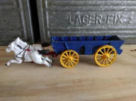Oud Gietijzeren Hubley Kenton Paard en Wagen Huifkar