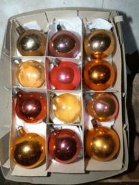 Oude Vintage Kerstballen 5350 Doosje Russische Oranje Zalm Goud