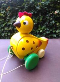 Oude Vintage Houten Speelgoed Loopeend Kip Geel