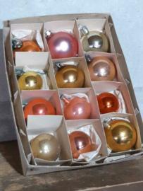 Oude Vintage Kerstballen 5667 Doosje Mix Zalm Goud