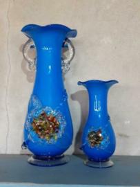 Oude Vintage Glazen Italiaanse Murano Vaasjes Blauw