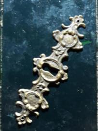 Oud Koperen Sleutelplaatje 13x4.2 cm
