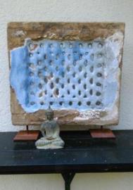 Oude Antieke Authentieke Tempelsteen Altaar Steen Blauw
