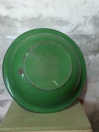 Oude Brocante Emaille Schaal Groen