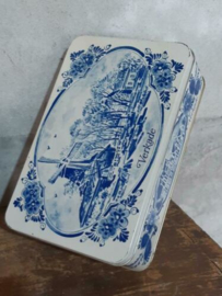 Oud Vintage Verkade Blik Koekblik Delfts Blauw