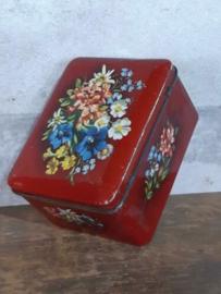 Oud Vintage Verkade Blik Koekblik Bloemen Rood
