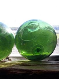 Oude Antiek Vintage Glazen Drijver Visnet Groen