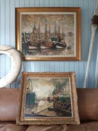 Oud Maritiem Schilderij Olieverf op Linnen Vissers Haven L. Melis Boten