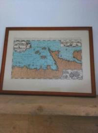 Oude Antieke Prent Zeekaart in Lijst Normandie en Bretange 1693