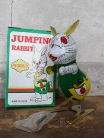 Oud Vintage Blikken Speelgoed - China - Springend Konijn Rabbit