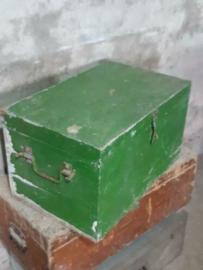 Oude Vintage Houten Kist Koffer Groen