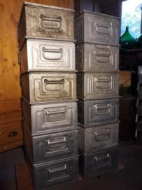 Oude Vintage Industriele Stapelkist Magazijnbak Zink