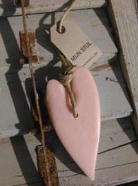 Puur Zeep Stoer Hart XL aan Touw Licht Roze - Mille Fleurs