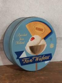 Oud Vintage Verkade Blik Koekblik Fan Wafers