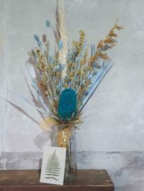 Gemengd Droogboeket Droogbloemen Geel Blauw met Vaas en Kaartje