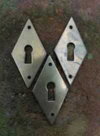 Antiek Sleutelplaatje Koper 6 cm
